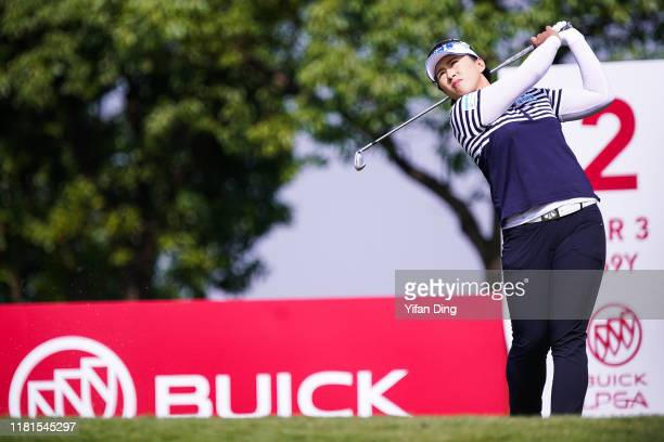 Amy Yang of South Korea drives from the tee during Round 1 of Buick LPGA Shanghai at Shanghai Qizhong Garden Golf Club on October 17 2019 in Shanghai...