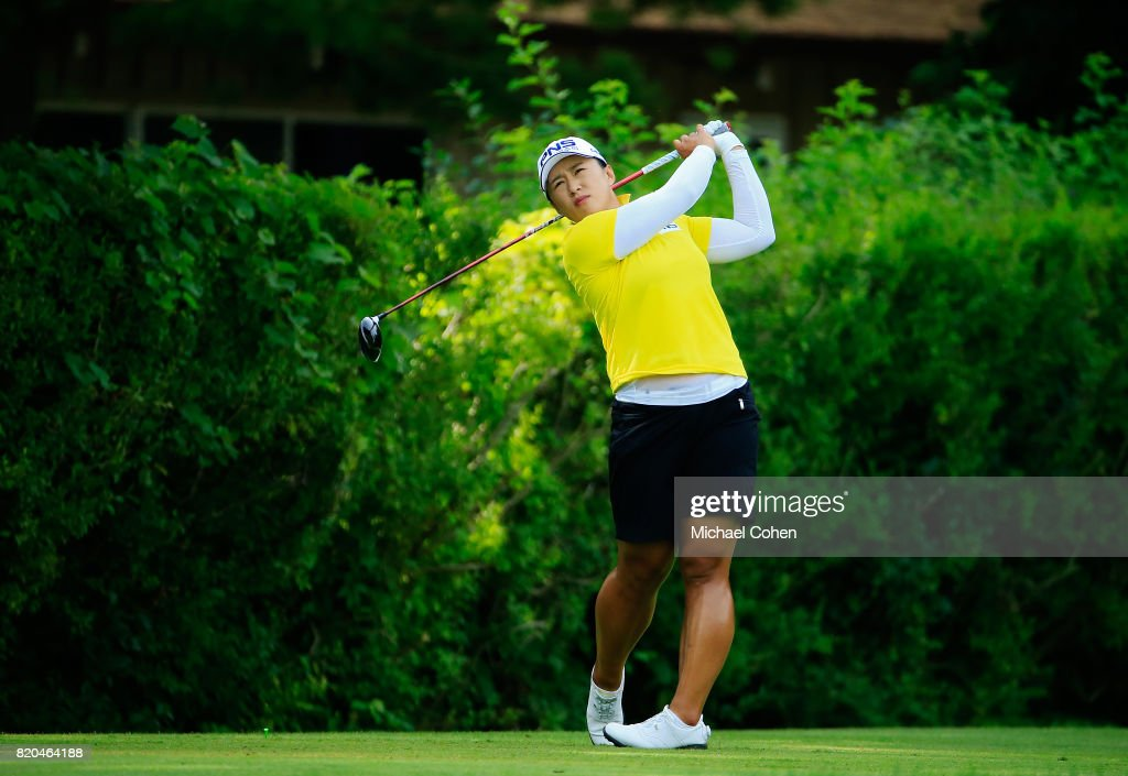 Amy Yang of South Korea hits her drive on the 16th hole during the second round of the Marathon Classic Presented By Owens Corning And O-I held at Highland Meadows Golf Club on July 21, 2017 in Sylvania, Ohio.