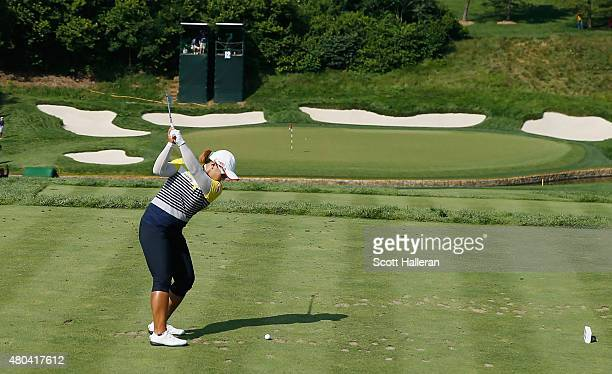 Amy Yang of South Korea hits her tee shot on the 12th hole during the third round of the U.S. Women's Open at Lancaster Country Club on July 11, 2015...
