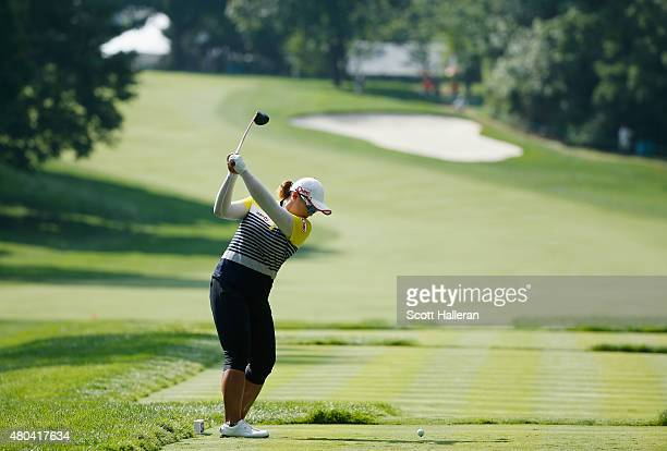 Amy Yang of South Korea hits her tee shot on the 13th hole during the third round of the U.S. Women's Open at Lancaster Country Club on July 11, 2015...