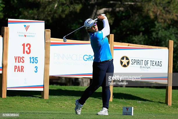 Amy Yang of South Korea hits her tee shot on the 13th hole during the third round of the Volunteers of America Texas Shootout at Las Colinas Country...
