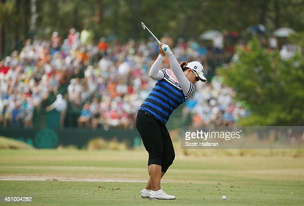 Amy Yang of South Korea hits her tee shot on the 15th hole during the third round of the 69th US Women's Open at Pinehurst Resort Country Club Course...