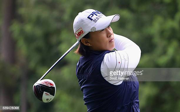 Amy Yang of South Korea hits her tee shot on the 18th hole during the third round of the KPMG Women's PGA Championship at the Sahalee Country Club on...