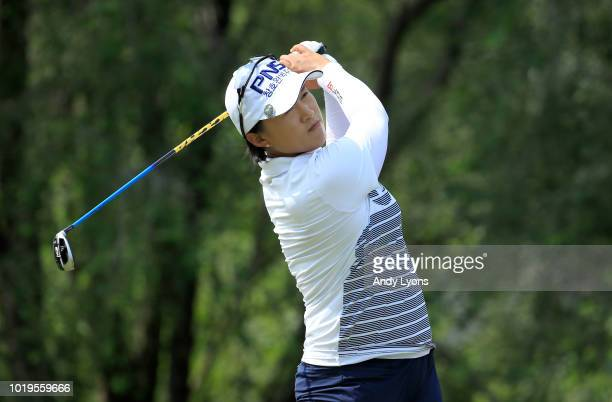 Amy Yang of South Korea hits her tee shot on the 4th hole during the final round of the Indy Women In Tech Championship Driven by Group 1001 at the...
