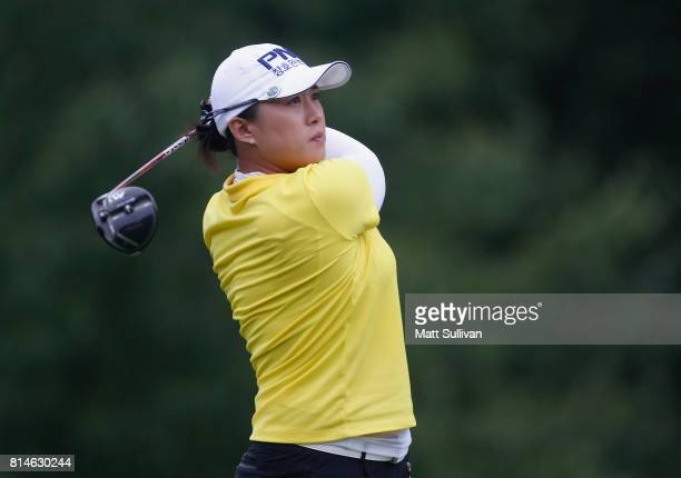 Amy Yang of South Korea hits her tee shot on the eighth hole during the second round of the US Women's Open Championship at Trump National Golf...