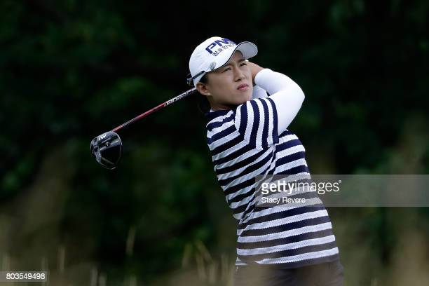 Amy Yang of South Korea hits her tee shot on the fifth hole during the first round of the 2017 KPMG PGA Championship at Olympia Fields Country Club...