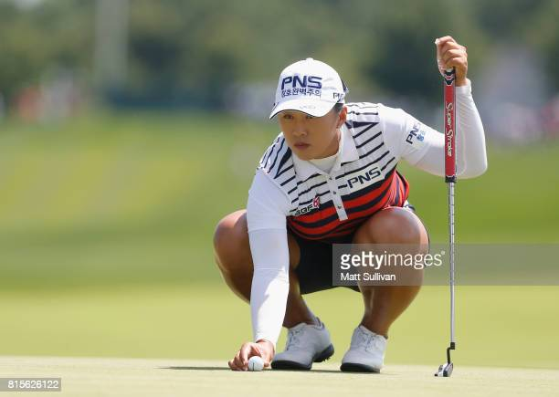 Amy Yang of South Korea lines up a putt on the first hole during the final round of the US Women's Open Championship at Trump National Golf Club on...