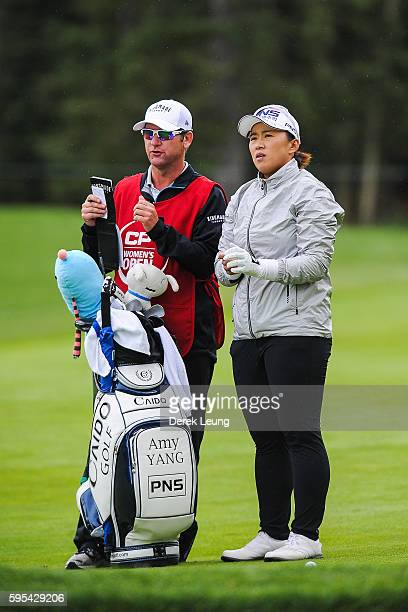Amy Yang of South Korea looks down the fairway prior to her second shot on the 4th hole during the first round of the Canadian Pacific Women's Open...