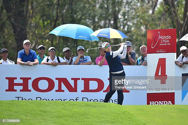 Amy Yang of South Korea plays a shot during day three of the 2016 Honda LPGA Thailand at Siam Country Club on February 27 2016 in Chon Buri Thailand