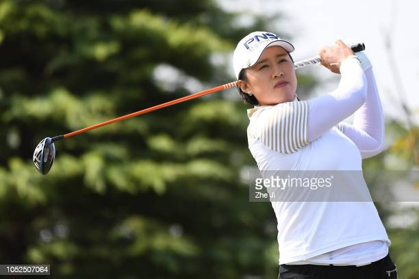 Amy Yang of South Korea plays a shot during the second round of the Buick LPGA Shanghai at Shanghai Qizhong Garden Golf Club on October 19 2018 in...