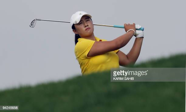 Amy Yang of South Korea plays a shot during the the second round of the 500000euro Dubai Ladies Masters golf tournament at the Emirates Golf Club on...