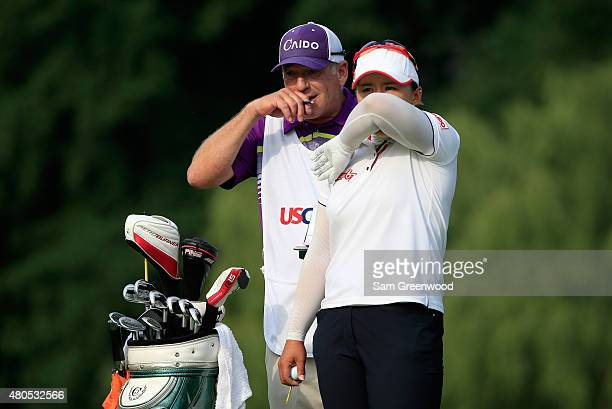 Amy Yang of South Korea plays a shot on the 17th hole during the final round of the US Women's Open at Lancaster Country Club on July 12 2015 in...