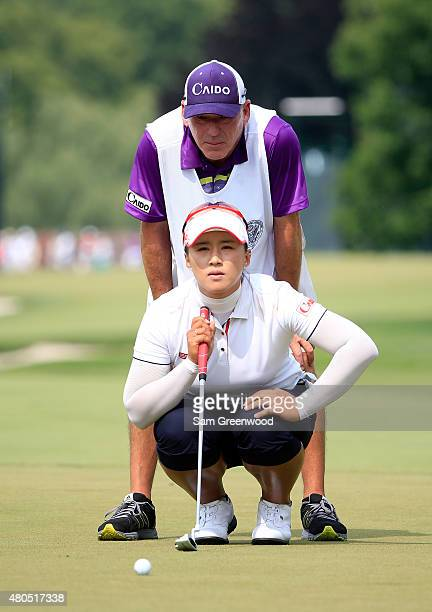 Amy Yang of South Korea plays a shot on the 9th hole during the final round of the U.S. Women's Open at Lancaster Country Club on July 12, 2015 in...