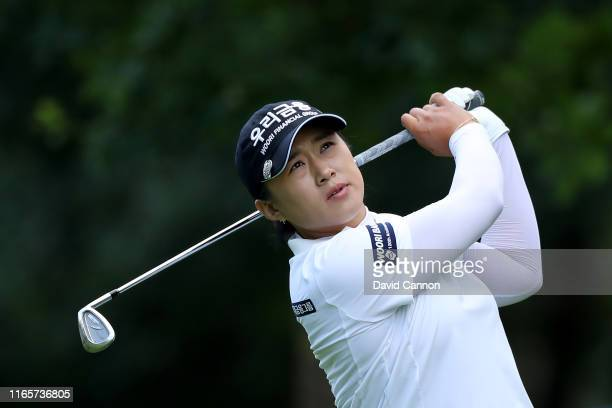 Amy Yang of South Korea plays her second shot on the par 4 16th hole during the second round of the AIG Women's British Open on the Marquess Course...