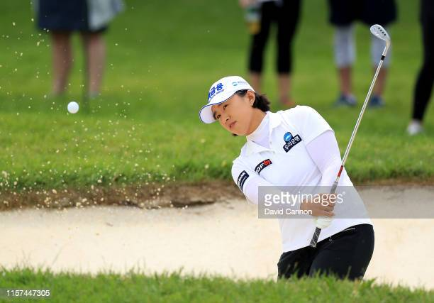Amy Yang of South Korea plays her second shot on the par 4 eighth hole during the second round of the 2019 KPMG Women's PGA Championship at Hazeltine...
