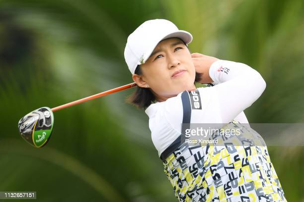 Amy Yang of South Korea plays her shot from the second tee during the first round of the HSBC Women's World Championship at Sentosa Golf Club on...