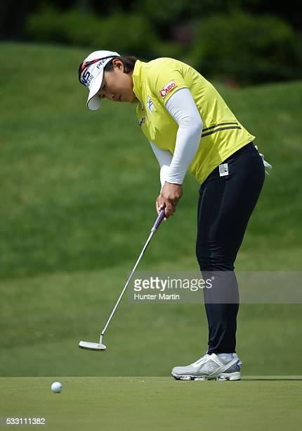 Amy Yang of South Korea putts on the seventh hole during the second round of the Kingsmill Championship presented by JTBC on the River Course at...
