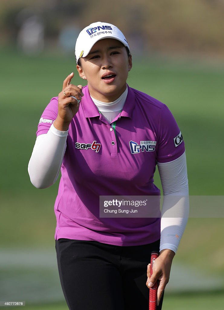 Amy Yang of South Korea reacts after a putt on the 18th green during the first round of LPGA KEB-HanaBank Championship at Sky 72 Golf Club Ocean Course on Ocober 15, 2015 in Incheon, South Korea.