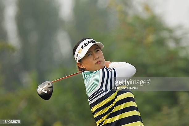 Amy Yang of South Korea tees off during the second round of the Reignwood LPGA Classic at Pine Valley Golf Club on October 4 2013 in Beijing China