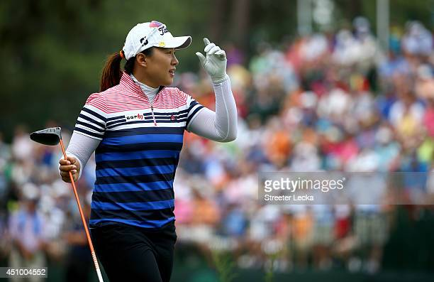 Amy Yang of South Korea walks off the tee on the 18th hole during the third round of the 69th US Women's Open at Pinehurst Resort Country Club Course...
