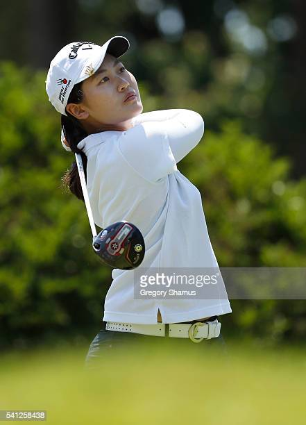 Amy Yang of South Korea watches her tee shot on the 10th hole during the final round of the Meijer LPGA Classic on June 19 2016 at Blythefield...