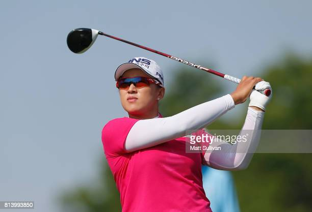 Amy Yang of South Korea watches her tee shot on the sixth hole during the first round of the US Women's Open Championship at Trump National Golf...