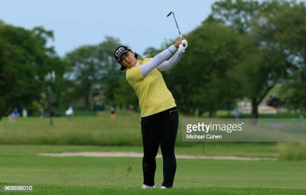 Amy Yang of the Republic of Korea hits her second shot on the 18th hole from the 10th fairway during the first round of the ShopRite LPGA Classic...