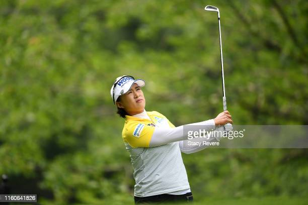 Amy Yang of the Republic of Korea hits her tee shot on the second hole during the final round of the Thornberry Creek LPGA Classic at Thornberry...