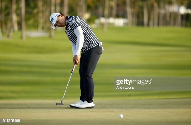 Amy Yang putts for birdie on the 15th hole during the final round of the Pure Silk Bahamas LPGA Classic at the Ocean Golf Course on January 28 2018...