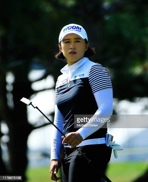 Amy Yang reacts to her putt during the third round of the Indy Women In Tech Championship Driven by Group 1001 held at the Brickyard Crossing Golf...