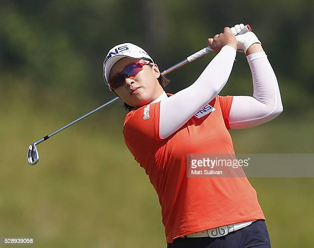 Amy Yang watches her tee shot on the second hole during the third round of the Yokohama Tire Classic on May 07 2016 in Prattville Alabama