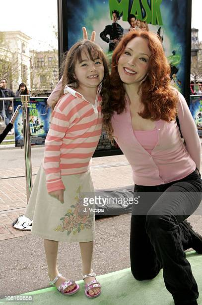 Amy Yasbeck and daughter Stella during Son of the Mask Los Angeles Premiere Green Carpet at The Grove in Los Angeles California United States