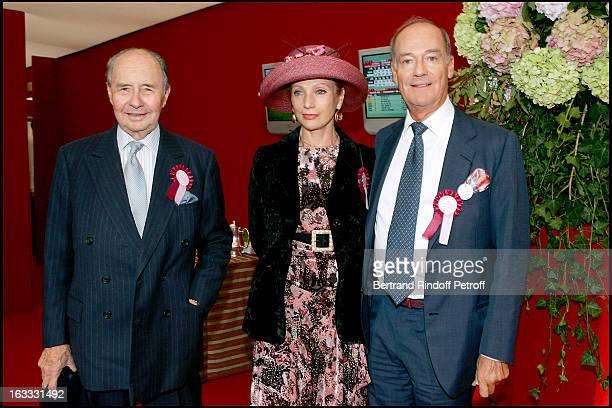 Amyn Aga Khan Philomene D' Arenberg and Le Comte Edouard De Ribes at The 84th Prix De L' Arc De Triomphe In 2005 At The L' Hippodrome De Longchamp In...