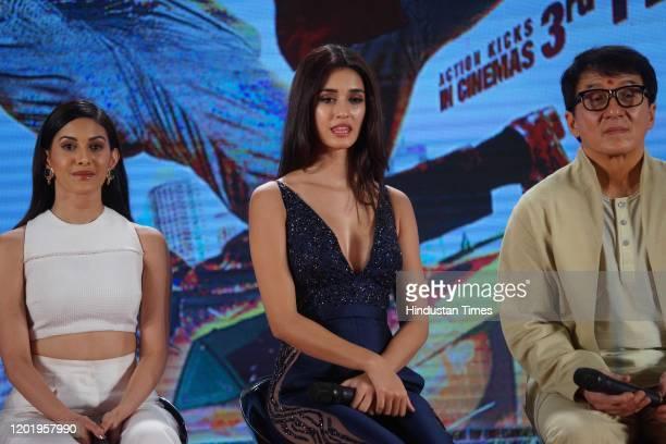 Amyra Dastur, Disha Patani and Jackie Chan, during the promotion of movie 'Kung Fu Yoga', on January 23, 2017 in Mumbai, India.