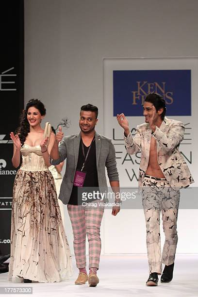 Amyra Dastur Ken Ferns Prateik Babbar walk on the runway during day 2 of Lakme Fashion Week Winter/Festive 2013 at the Hotel Grand Hyatt on August 24...