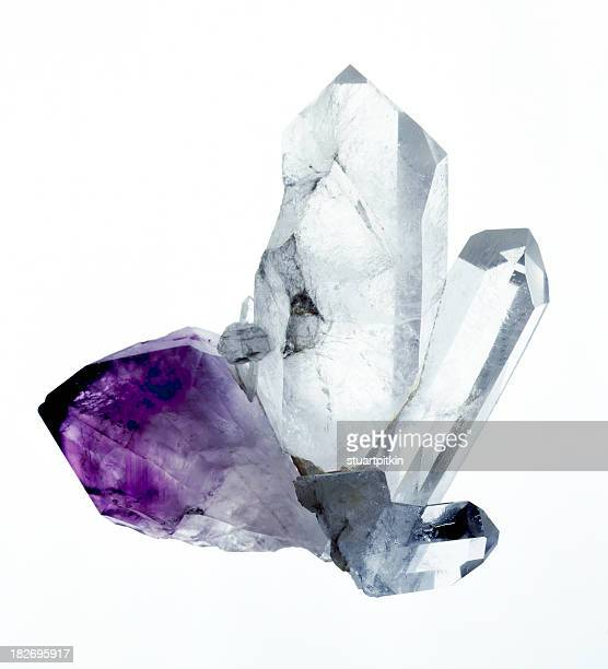 amythyst & quartz crystals - crystal stock pictures, royalty-free photos & images
