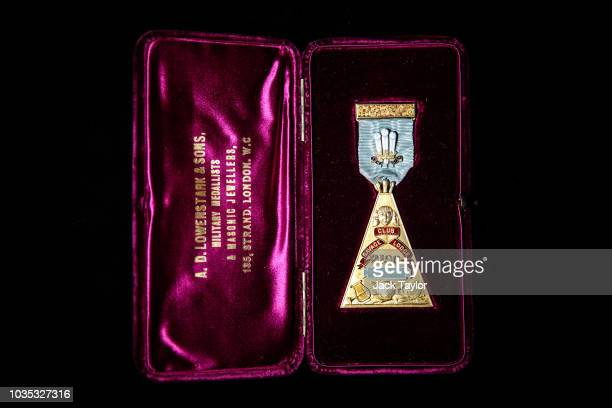An 18 carat gold 'Savage Club' masonic jewel presented to HRH the Prince of Wales is pictured during a press preview at the Museum of Freemasonry on...