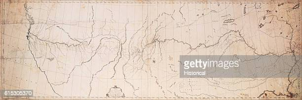An 1808 map of the westward expedition of Lewis and Clark While it shows the course of rivers it is not very detailed otherwise the Puget Sound and...
