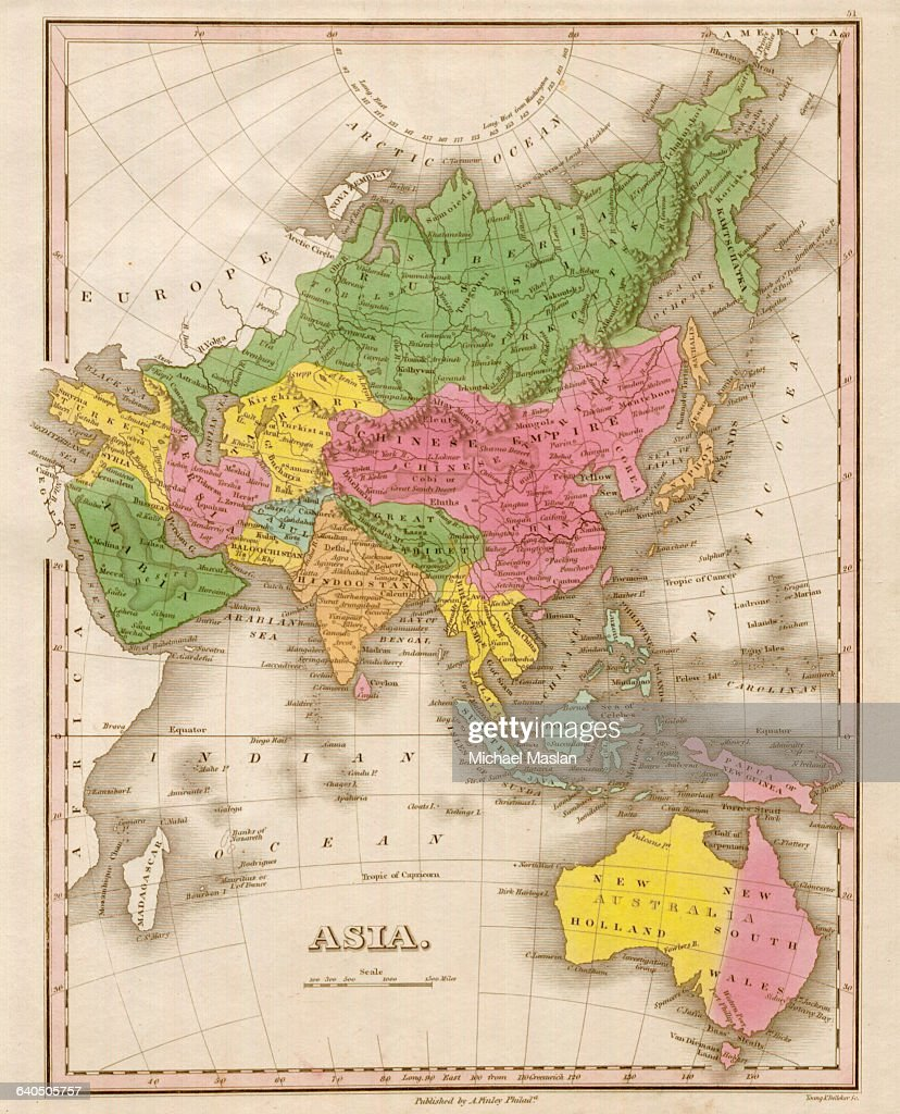 Map Of Asia By Country.An 1826 Map Asia Shows Country Boundaries And Topographical Features