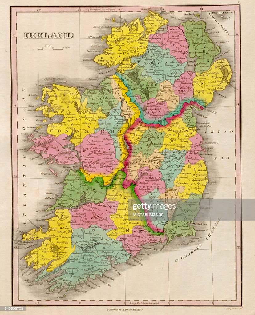 Show Map Of Ireland.An 1826 Map Of Ireland Shows District Boundaries Settlements Roads