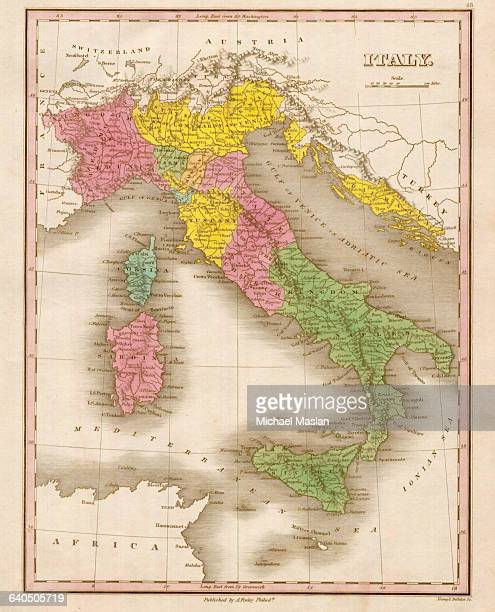 An 1826 map of Italy shows settlements district boundaries roads and topographical features Italy held possessions along the coast of Turkey at the...