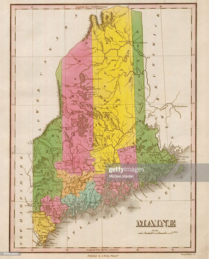An 1826 map of Maine includes entries for rivers, cities ...
