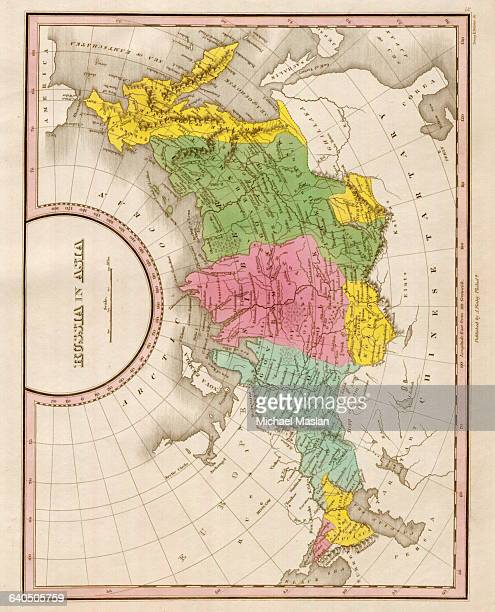 An 1826 map of the eastern portion of the Russian Empire shows district boundaries and topographical features Shown are Siberia the Kamchatka...
