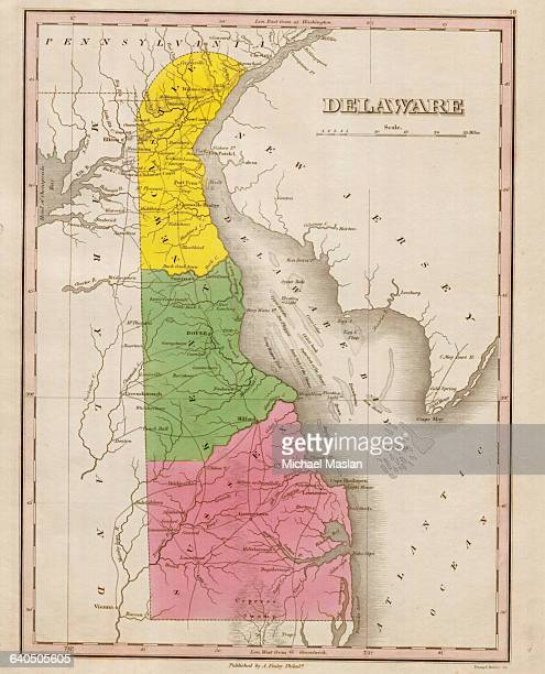 An 1826 map of the state of Delaware shows county boundaries roads settlements and topographical features The map also depicts the location of...