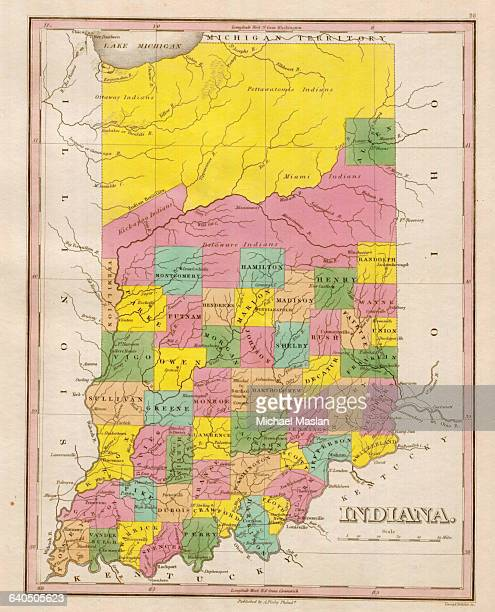 An 1826 map of the state of Indiana shows county boundaries roads settlements and topographical features Also depicted are territories belonging to...