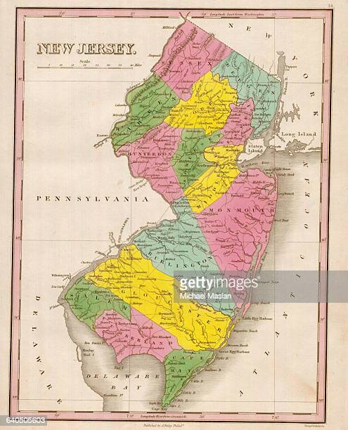 An 1826 map of the state of New Jersey shows county boundaries roads settlements and topographical features The map also depicts the Morris Canal as...