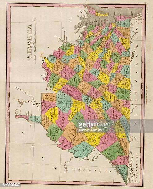 An 1826 map of the state of Virginia shows the state's many county boundaries roads settlements and topographical features