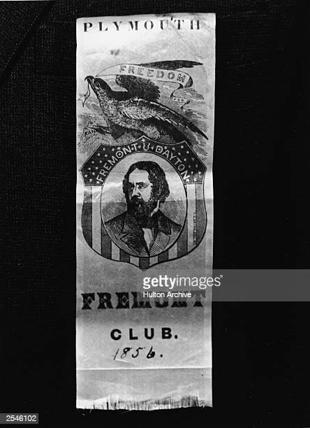 An 1856 United States presidential campaign ribbon for John Fremont the first Republican nominee for President who lost to James Buchanan Fremont was...
