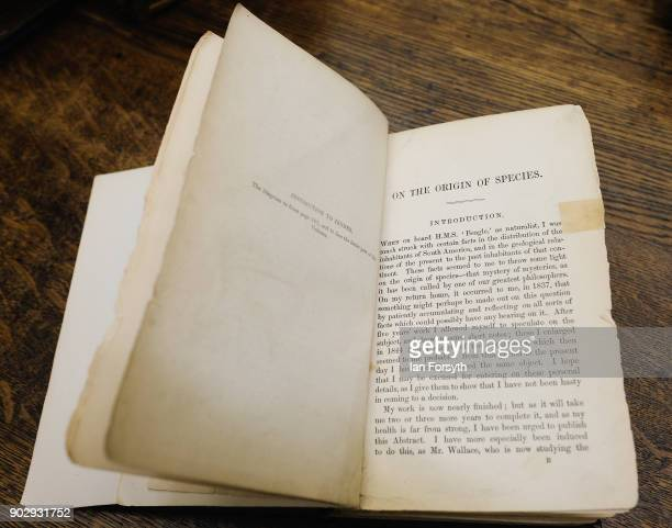 An 1859 first edition of Charles Darwin's On The Origin of Species is held at the Leeds Library on January 9 2018 in Leeds England Only around 275...