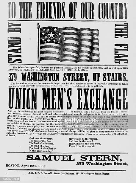 An 1861 woodcut poster advertises the opening of a beer and billiards hall in Boston a meeting place for the Union Men's Exchange The Exchange was a...
